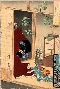 Yoshitoshi-Kuzunoha-fox-woman-leaving-her-child-W200-TN
